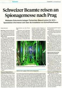 20140413 SonntagsZeitung über Geheimdienst, BÜPF und Hinweis auf Demo und Referendum